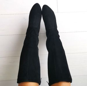 Tall suede Heeled boots 38- 8 browns